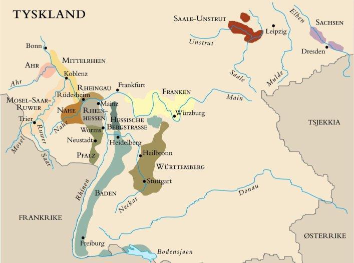 Kart over vindistriktene i Tyskland. Foto.