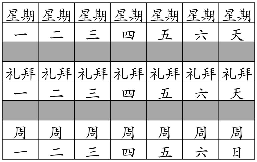 Tabell om ukedager med kinesiske tegn. Illustrasjon.