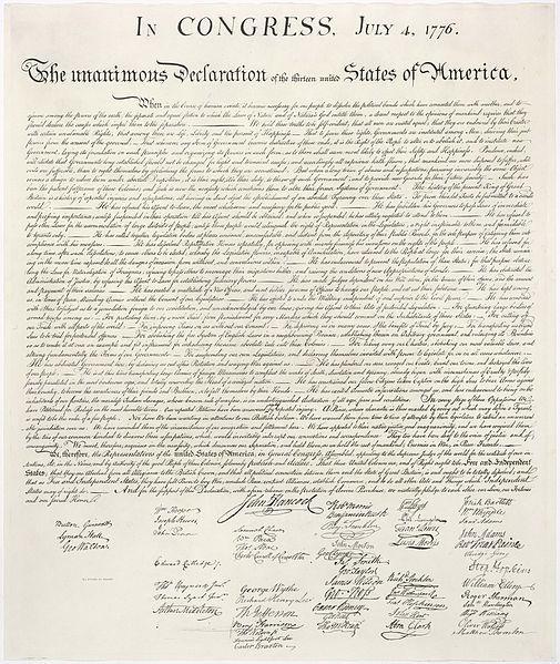 En kjent trykt versjon av den amerikanske uavhengighetserklæringen fra 4. juli 1776. Foto av kilde.