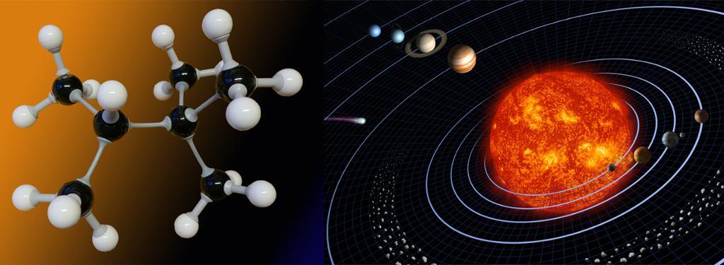 Modeller av universet og et molekyl. Illustrasjon.