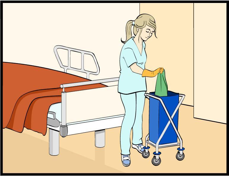 bildet viser en helsefagarbeider som håndterer ureint tøy riktig