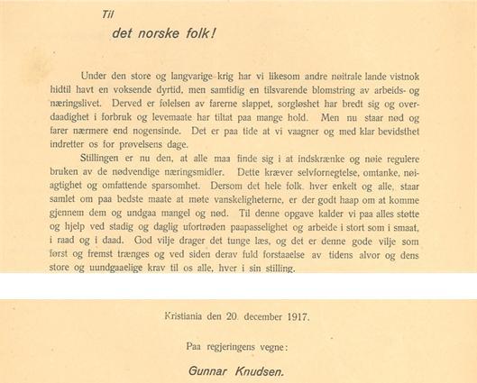 Opprop fra statsminister Knudsen til det norske folk