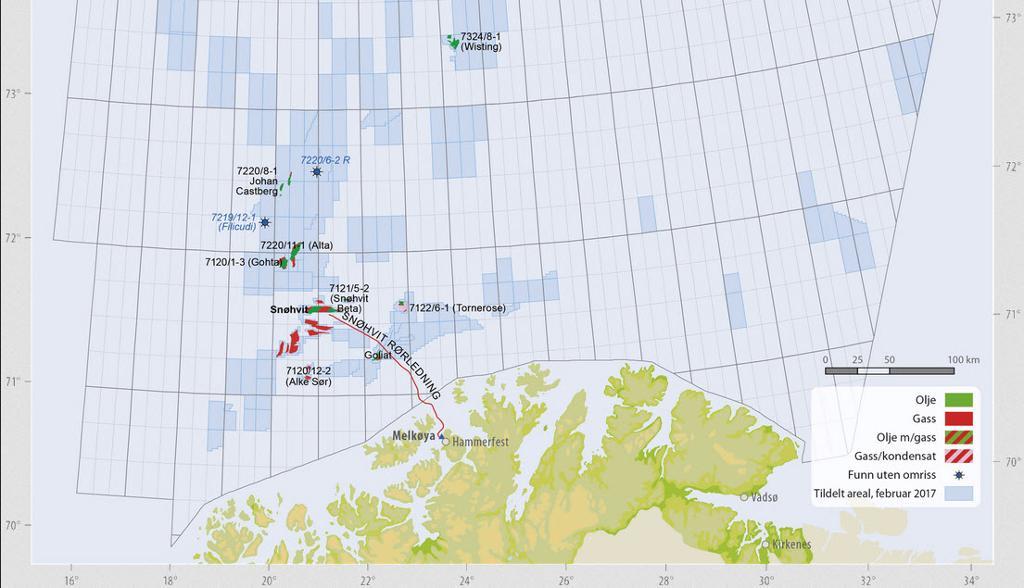 Utsnitt av kart over Barentshavet. Illustrasjon.