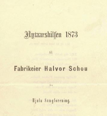 Nyttårshilsen til Halvor Schou fra Sangforeningen. Utsnitt av kilde.