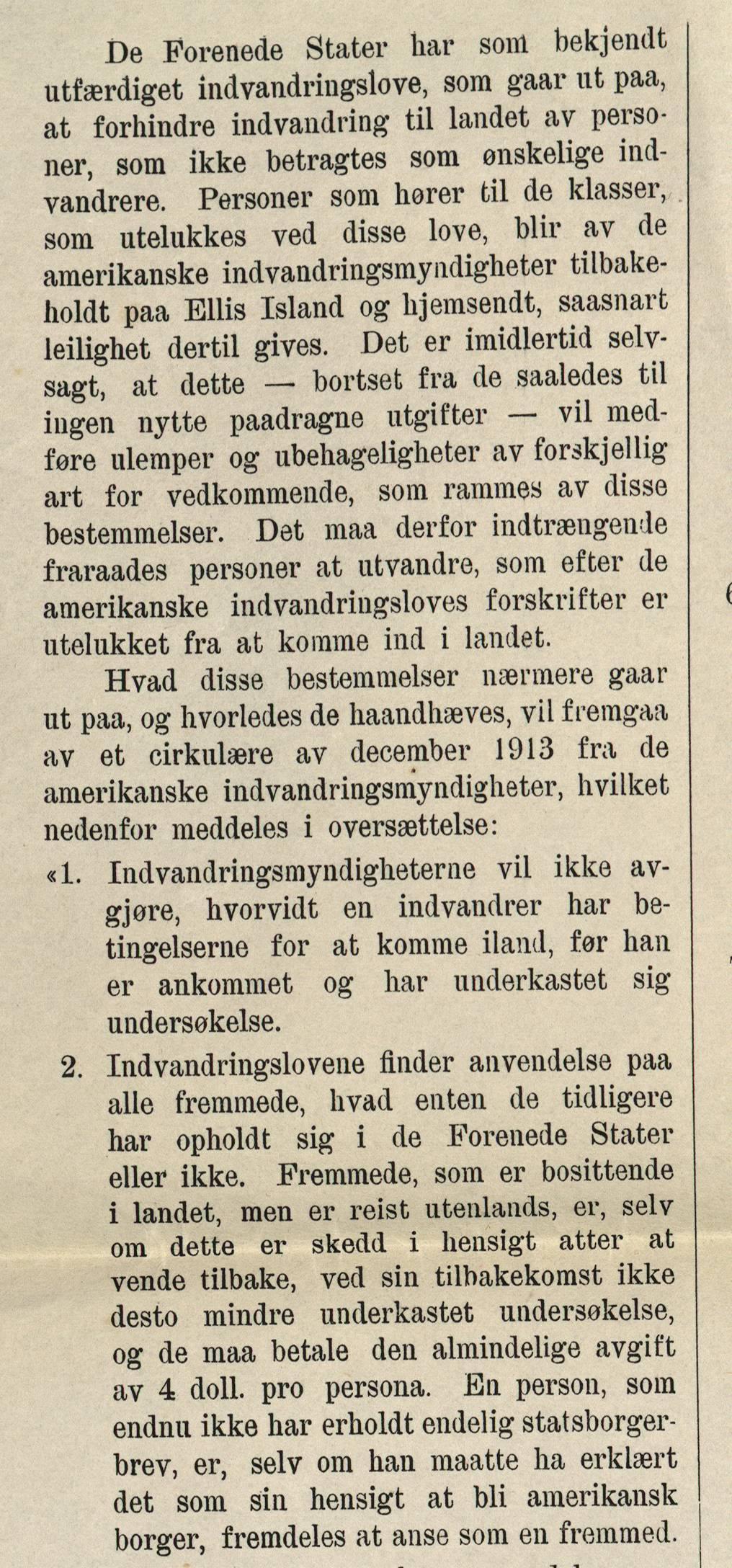 """Bestemmelser om innvandring etter"""" De Forenedes Staters invandringslove"""". Utsnitt fra Veiledning for utvandrere til Amerika, 1915. Kilde."""