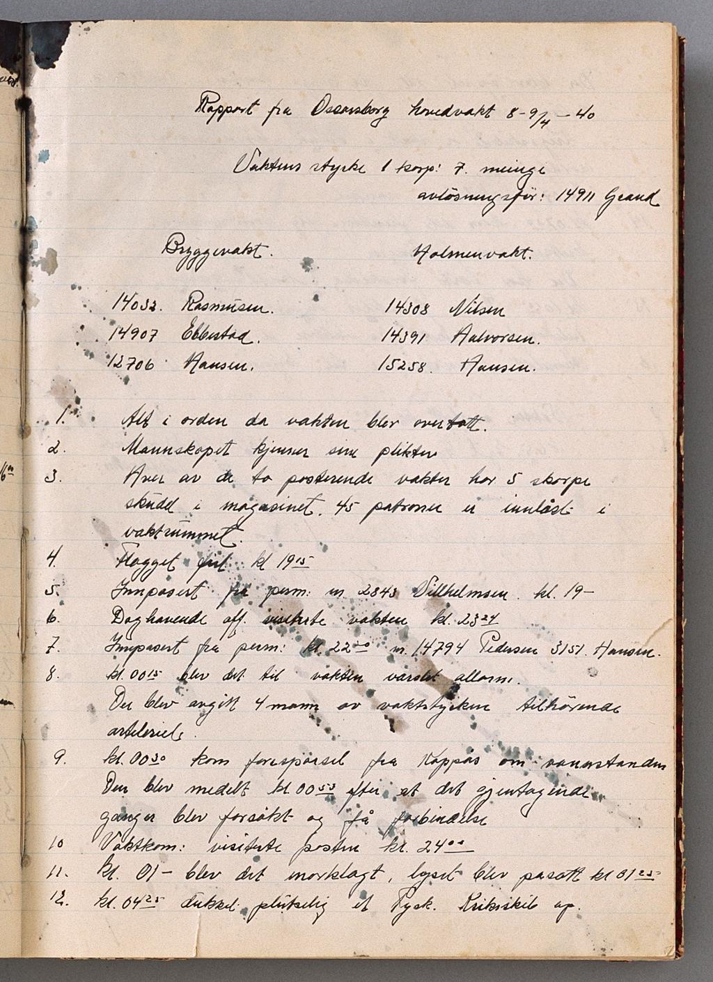 s 1 vaktprotokollen fra Oscarsborg 9. april 1940