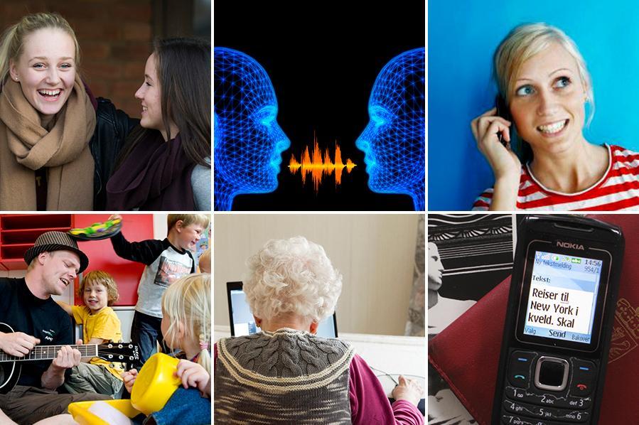 Kollasj som blant annet viser to jenter som ler, en mobiltelefon med beskjed, en jente som ringer og en gammel dame som sitter framfor en pc. Foto.