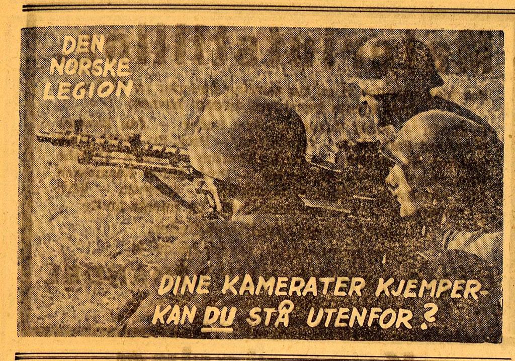 Oppfordring til verving til den norske legion Adresseavien 1.5.42