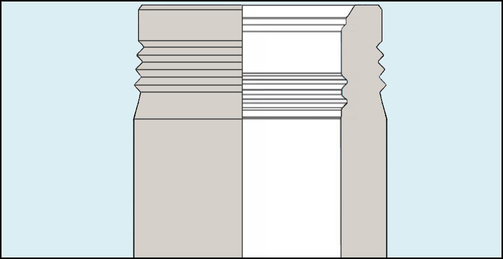 Skissen viser snitt av et brønnhode der vi får se utsiden og innsiden. På utsiden er det riller til ventiltreet, og på innsiden er det riller til casingen. Illustrasjon.