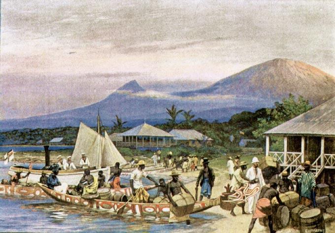 Scene fra den tyske kolonien Kamerun, hvor hvite kolonister ankommer med båt. Maleri.