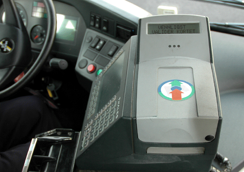 Betalingsautomat i buss.foto.