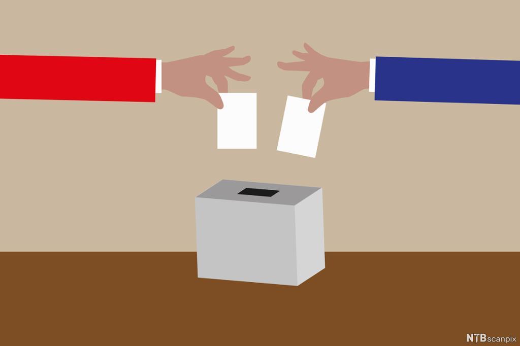 En blå og en rød arm putter stemmeseddel i stemmeurne. Illustrasjon.