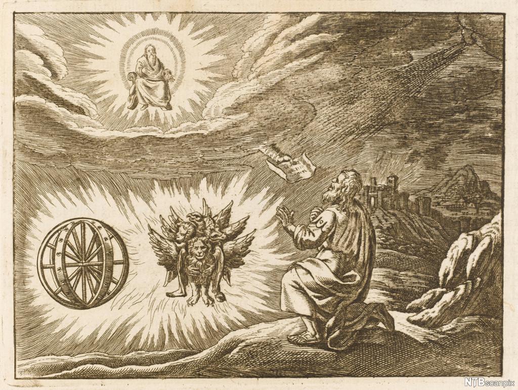 Mann ser Gud på himmelen, ein rund hjul-liknande ting og eit vesen med fire hovud og vengjer. Koparstikk.