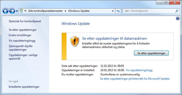 Windows leter etter oppdateringer