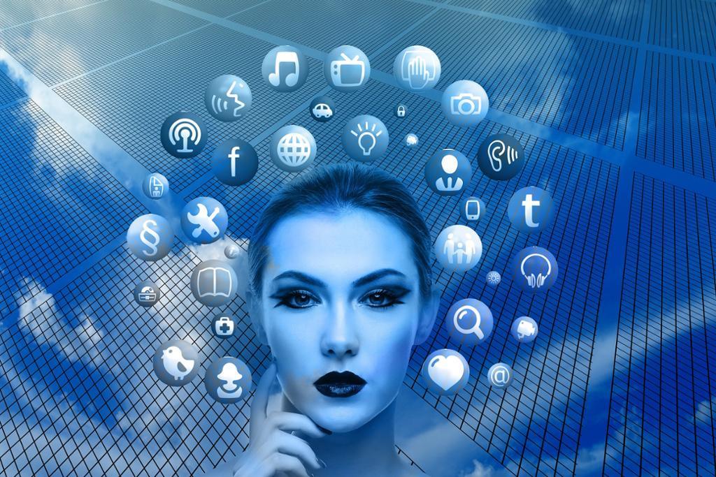 Hodet til en dame med ulike ikoner for ulike nettsteder rundt. Illustrasjon.