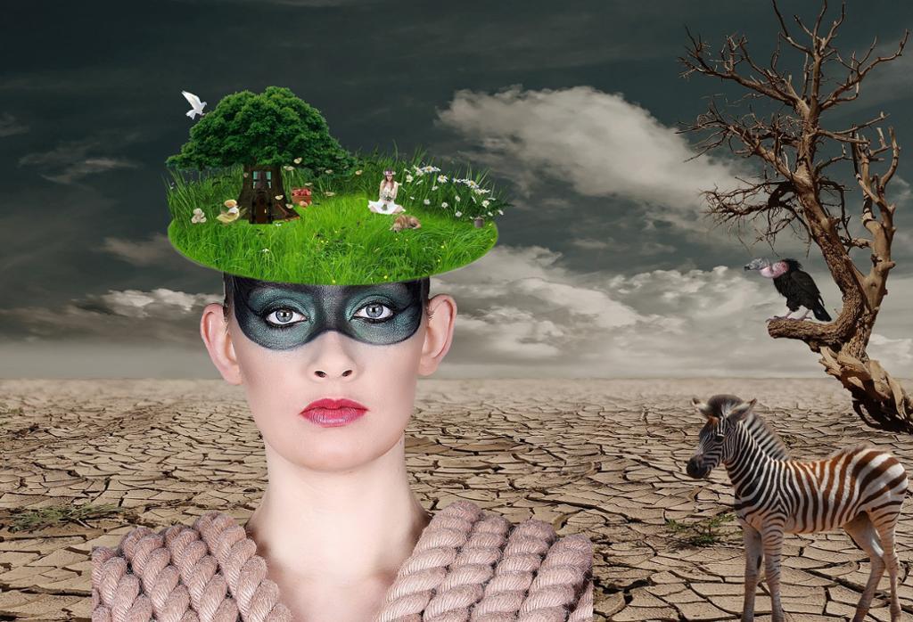 Kvinne i surrealistisk landskap. Illustrasjon.