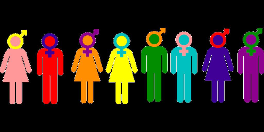 Figurer av kvinner og menn med ulike kjønnssymboler. illustrasjon.