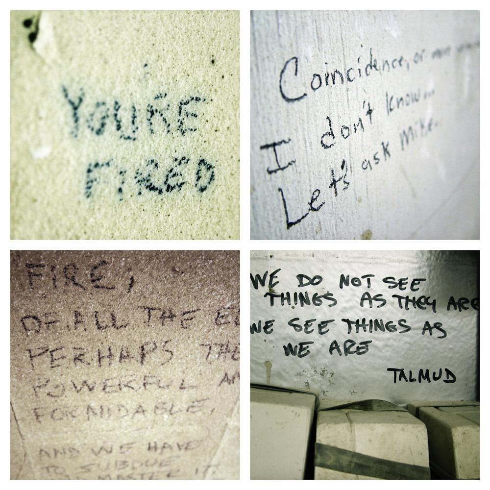 Different wall writings. Photo.