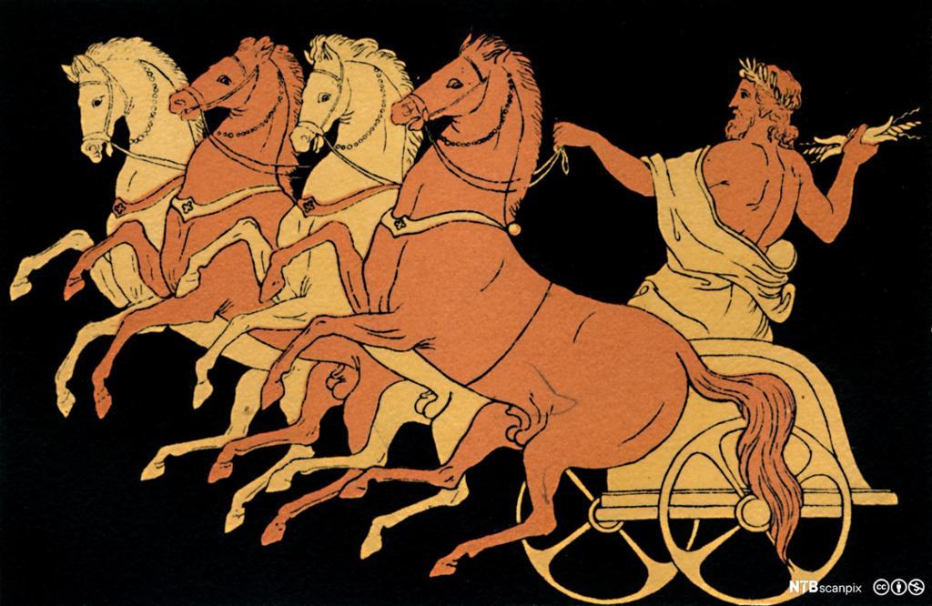 Fire hester trekker en vogn der en mann står med en fakkel i hånda. Freske.