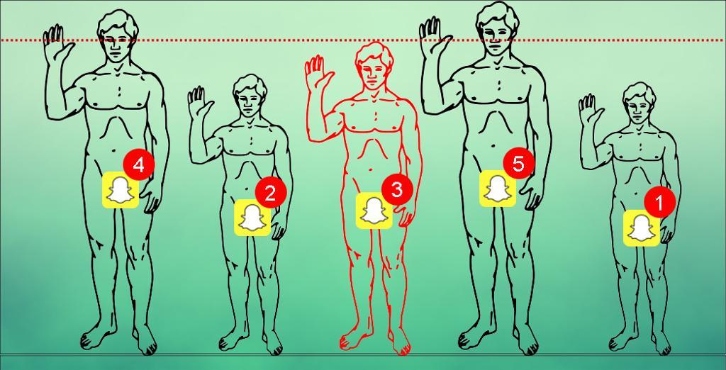 Små og store nakne menn med Snapchat ikon og antall meldinger lagt over skrittet. Illustrasjon.