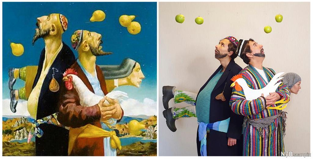 To menn og ei dame ser på epler og pærer i lufta. En holder ei høne. Maleri og foto med samme motiv.