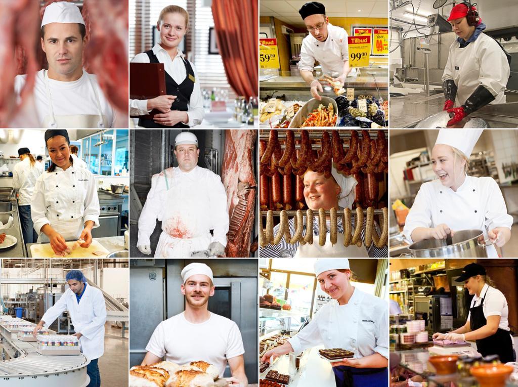 Yrkesportretter for restaurant- og matfag. Fotokolasj
