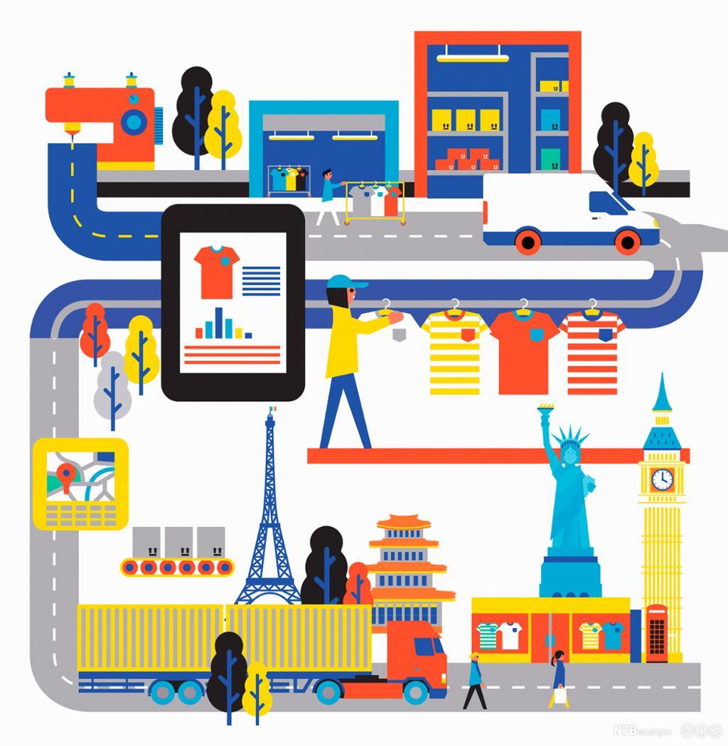 Global kjede av klesproduksjon fra produsent til butikk. Illustrasjon.