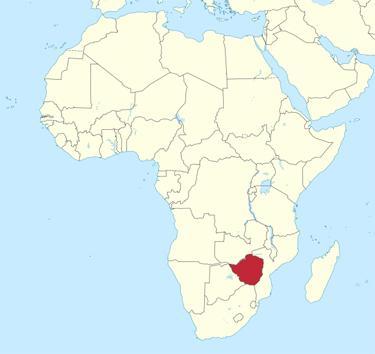Kart over hvor Zimbabwe ligger