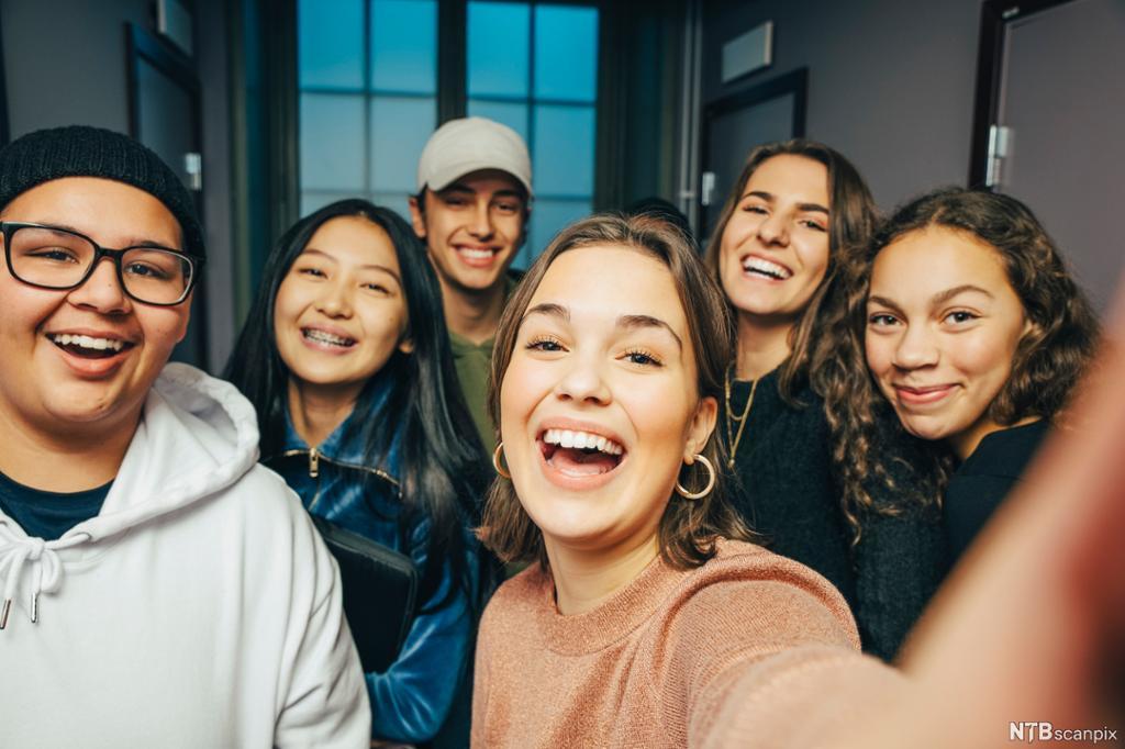 Ei gruppe ungdommar tek ein selfie. Foto.