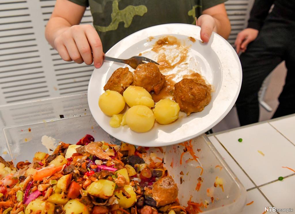 Ein person kastar uetne kjøtkaker og poteter i ein matavfallsboks. Foto.